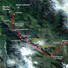 Mapas detalhados da trilha inca